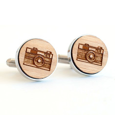 Bamboo and Stainless Steel Camera Photography cufflinks