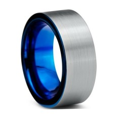 Personalised Custom Brushed Charcoal & Metallic Blue Pipecut Ring