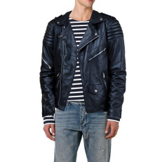 Black quilted biker lambskin leather jacket