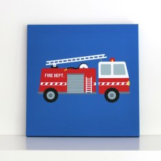 Fire engine wall canvas