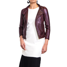 Oxblood red biker leather jacket