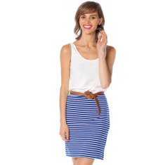 Royal blue stripe cotton jersey skirt