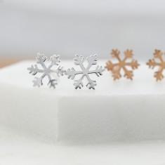 Snowflake stud earrings in sterling silver