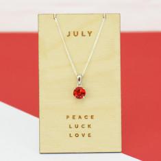 July birthstone sterling silver necklace