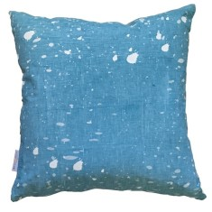 Blue Ink Splatter linen cushion
