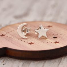 My star and moon earrings