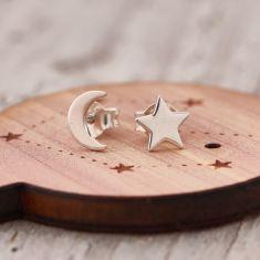 My star and moon earrings
