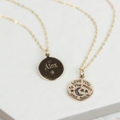 To the moon and back gold personalised necklace