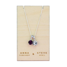 Couple's Birthstone Sterling Silver Necklace Pendant