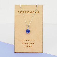 September birthstone sterling silver necklace