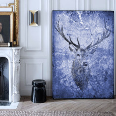Deer hunter navy ready to hang canvas art