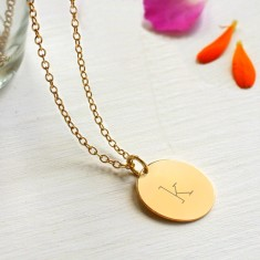 Personalised Gold Initial Disc Pendant Necklace