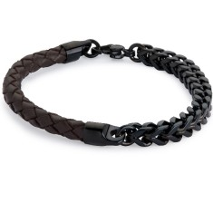Brown leather and black steel bracelet