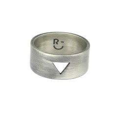 Men's triangle silver plated brass ring