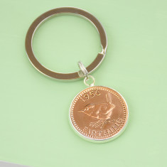 Farthing 60th 1956 birthday coin key ring