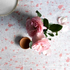 Blush Ink Splatter linen table runner