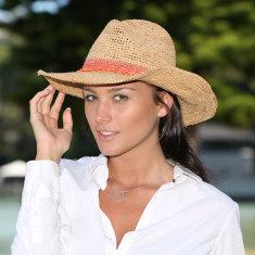 Castaway hand-woven raffia cowboy ladies hat