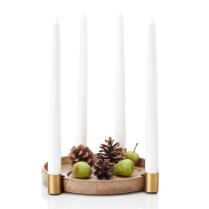 Applicata luna oak & brass candleholder