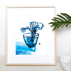 Blue tulips archival art print