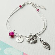 Personalised Forget Me Not Friendship Bracelet With Rose Quartz Stones