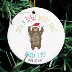 Personalised Have a Beary Merry Xmas Ornament