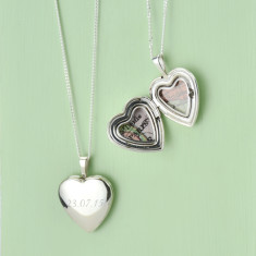 Personalised map location silver heart locket