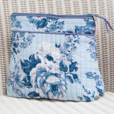 Tall make up bag in blue rosetta print