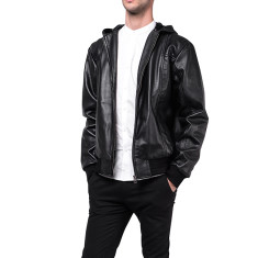 Black H5 hooded leather jacket