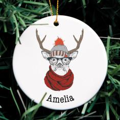 Personalised Hipster Reindeer Christmas Ornament