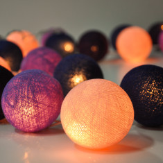 Purple cotton ball string lights
