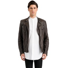 Brown Jamie slim fit leather jacket