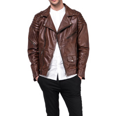 Dark brown Serl quilted lambskin leather jacket
