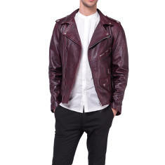 Oxblood MB1 red lambskin biker leather jacket