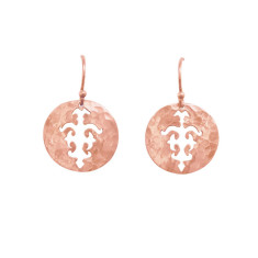 Tolus disc drop earrings in rose gold plate