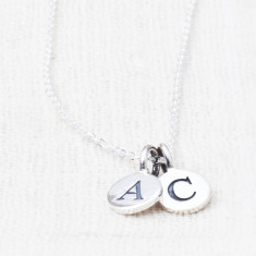 Dani sterling silver double charm necklace
