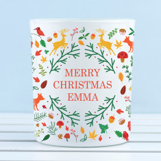 Personalised Christmas Woodland Tealight Holder