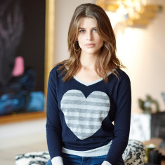 Merino Metallic Trim Sweater - Navy with Silver Heart