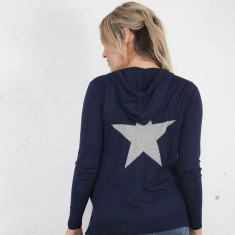 Star Hoodie Cotton Knit In Blue & Grey Or Grey & Navy