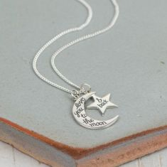 Love you to the moon charm necklace