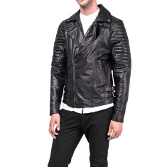 Black MB3 quilted leather jacket