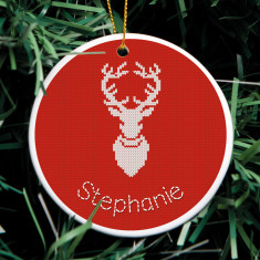 Personalised Knitted Stag Christmas Ornament