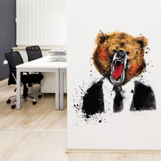 Handsome grizzly bear wall sticker