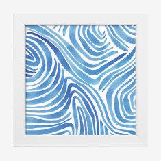 Framed Cass Deller 'Blue Zebra Lines' print