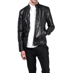 Black S1 lambskin leather biker jacket