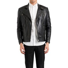 Black MB7 biker leather jacket
