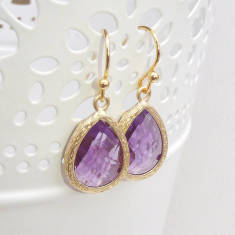 Faceted Glass Teardrop Earrings
