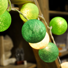 Green & white cotton ball string lights