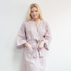 Cotton wrap-over kimono in dusky pink swallows print
