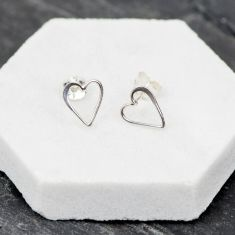 Silver love heart earrings