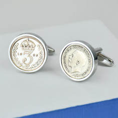Threepence 90th 1926 birthday coin cufflinks